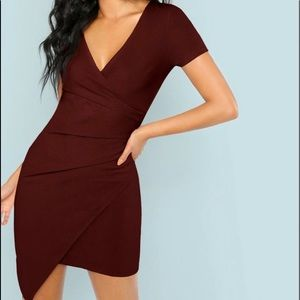 SheIn Red Ruched Dress